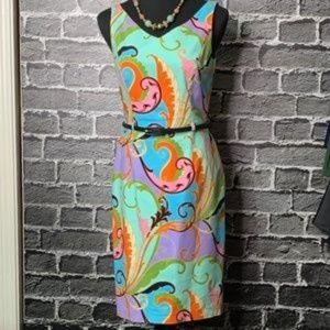 DAVID MEISTER Paisley Sheath Dress Sz 6